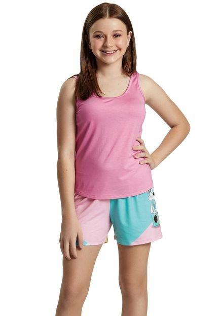 Recco Pijama Recco Juvenil Viscose Malha Touch Rosa HGgM8