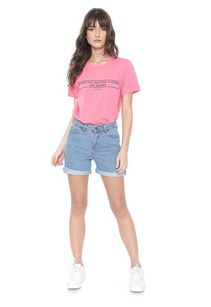 Colcci Camiseta Colcci Lettering Pink