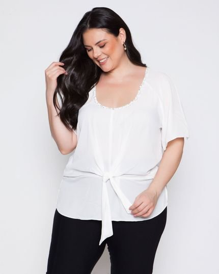 Almaria Plus Size Blusa Almaria Plus Size Pianeta Liso Bordado Off White HFbyp