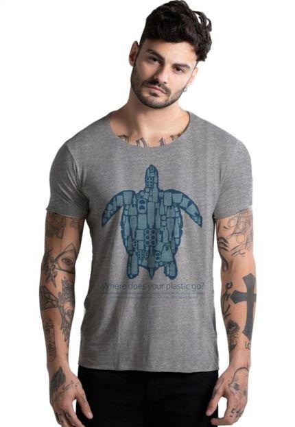 Camiseta Estonada Corte à Fio Joss No Plastic Cinza