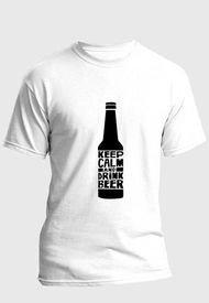 Camiseta Estampada Hombre Negro-Blanco Kuva - Keep Calm Drink Beer