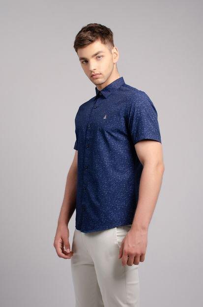 Camisa Porto & Co Manga Curta Slim Fit Estampada