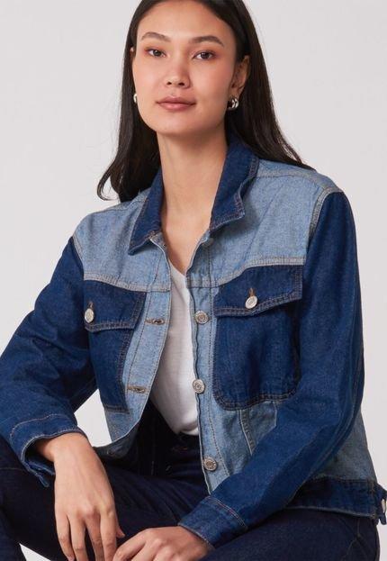 AMARO Jaqueta AMARO Jeans Bicolor Azul Escuro 1wDgp