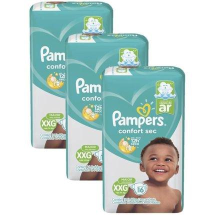 Kit Fralda Pampers Confort Sec Nova Pacotão Tamanho XXG 48 Unidades Branca