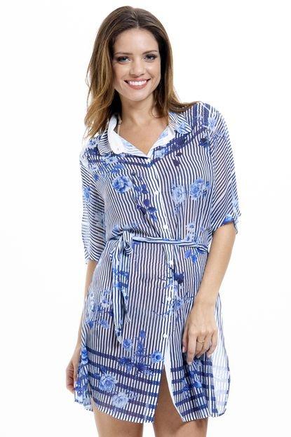 101 Resort Wear Vestido Chemise 101 Resort Wear Crepe Listrado Azul zn7J2