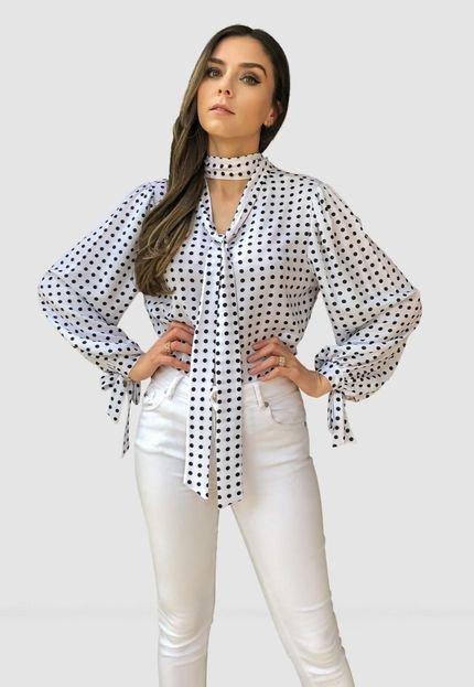 camisa Hora de Diva Bufante Gola Laço Poá Branca - Marca Hora de Diva