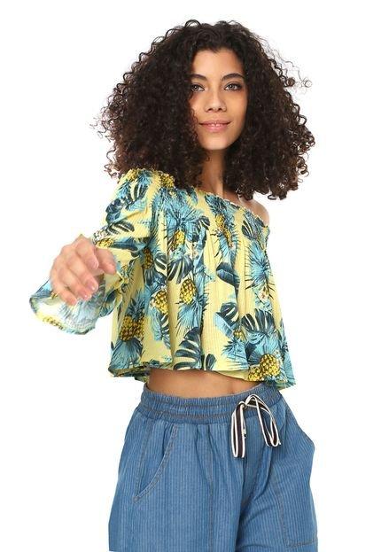 My Favorite Thing(s) Blusa Cropped My Favorite Thing(s) Estampada Amarela LxE5J