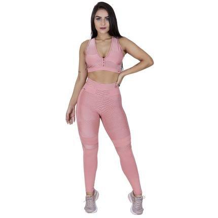 ORBIS FITNESS Legging Fitness Supplex Texturizado Detalhe Recortes Orbis Fitness Rosê Bolinha MI9zt
