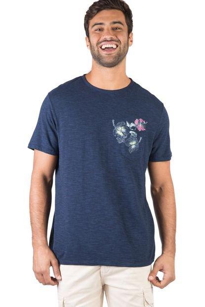 T-Shirt Com Bolso Flamê Estampada Azul Marinho Azul Marinho/GG
