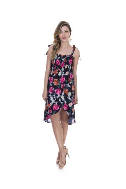 Parado no Ar Vestido Parado no Ar  Floral Elástex - Rosa Q42d4