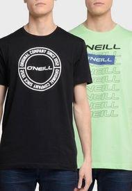 Pack 2 Poleras O'Neill Negro/ Verde - Calce Regular