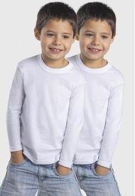 Camiseta Unisex Manga Larga Algodón Pack 2 Blanca Mota