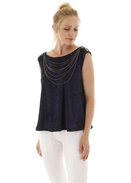 AHA Blusa sem manga de veludo com aplicação de correntes preta - azul marinho 2uidf