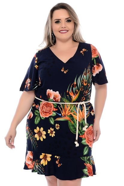 Join Curves Vestido Plus Size Join Curves Cartagena Azul Join Curves m5daI