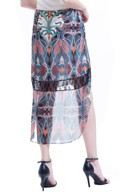 101 Resort Wear Saia 101 Resort Wear Mullet Chifon Estampado Tribal Multicolorido