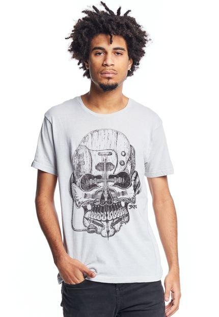 Camiseta JAZZ BRASIL Caveira/Guitarra Cinza