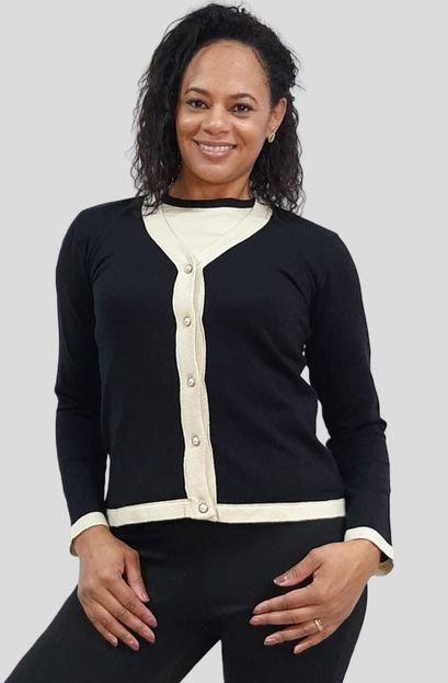 Tomasini Tricot Conjunto Modal (Casaco e Blusa) 2 Cores Tomasini Tricot Outono/Inverno 2020 Preto c/ Branco Lmvpu