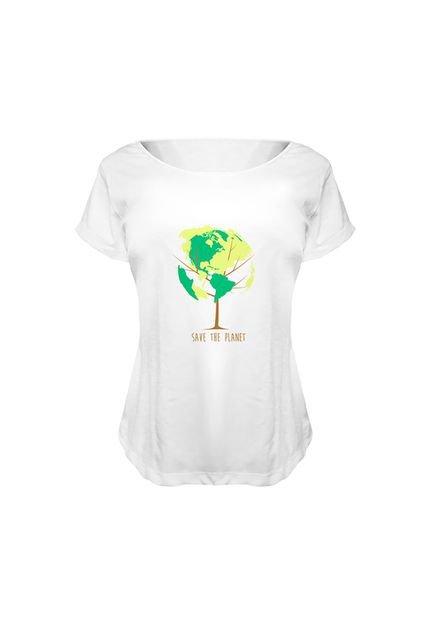 Nerderia Camiseta Baby Look Nerderia Save The Planet Branco m39NV