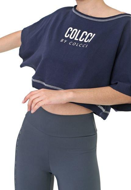 Colcci Fitness Blusa Cropped Colcci Fitness Oversized Logo Azul-Marinho L0LsM
