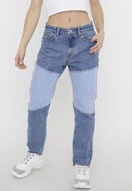Jeans Straight Patchwork II Azul Medio - Mujer Corona