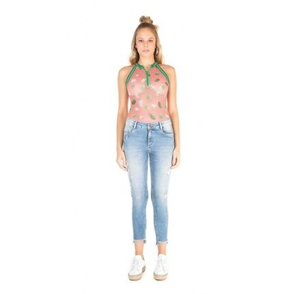 Zinco Calca Zinco  Skinny Regular Cropped Cos Intermediario Barra Desfiad  Jeans CZ7Md