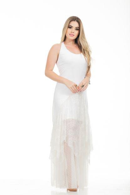 Clara Arruda Vestido Clara Arruda Longo Malha E Rendafesta Mix Renda 50514 Off-white kvAU5