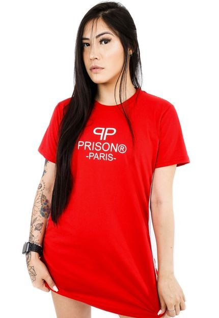 Prison Vestido Streetwear Prison Feminino Paris Logo Vermelho sbHvH