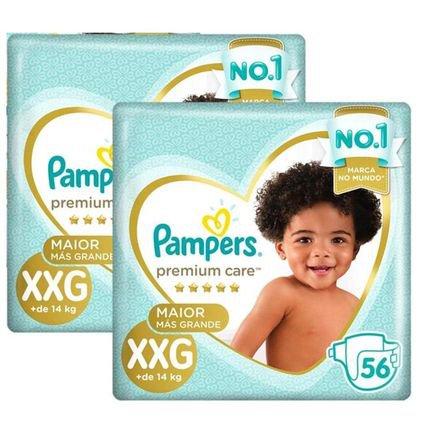 Kit Fralda Pampers Premium Care Jumbo Tamanho XXG 112 Unidades