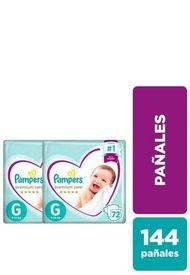 Pack X 2 Pañales Desechables Premium Care 144 Unidades Morado Pampers