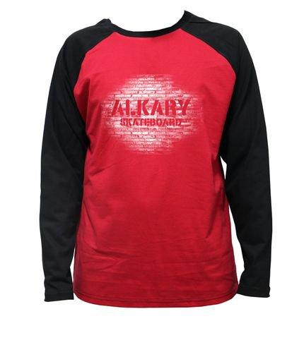 Camiseta Alkary Raglan Manga Longa Muro Vermelha e Preta