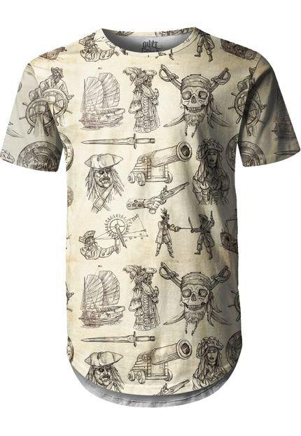 Camiseta Longline Over Fame Piratas Bege