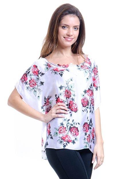 101 Resort Wear Blusa 101 Resort Wear Poncho Crepe Estampada Maxi Flor Branco e Vermelho kIOgg