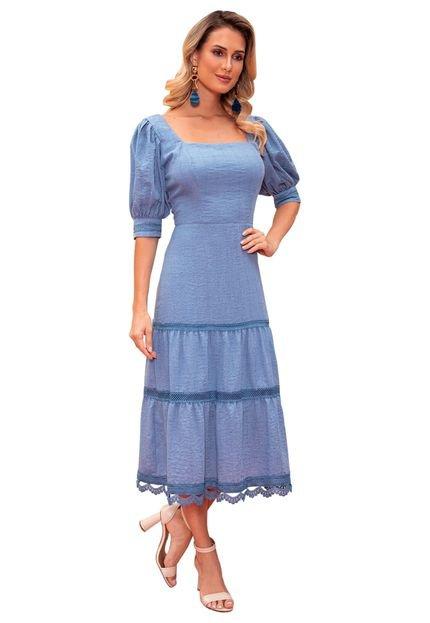 Fasciniu's Vestido Fascinius Emy Azul Qcwaq