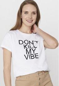 Polera Frases Blanco/Dont Kill My Vibe Corona