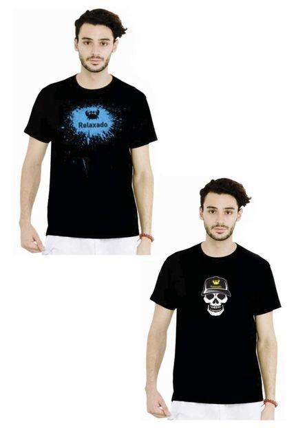 Kit Camiseta Manga Curta Relaxado EB Preto/Preto