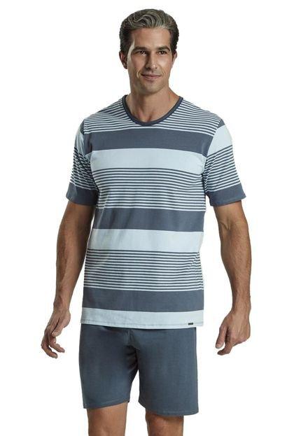 Recco Pijama Recco Cotton Comfort Malha Azul 0e3Ba