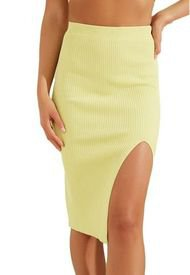 Falda Kalani Thigh Slit Swtr Skirt Amarillo Guess