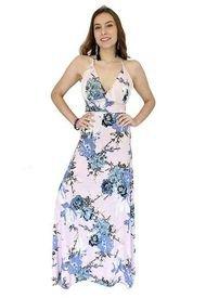 Vestido Vera Pabilo Rosa Flores Azulino Natalia Seguel