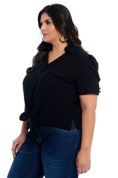 Marileti Camisa Plus Size Marileti Mari Amarração Preta JhgBg