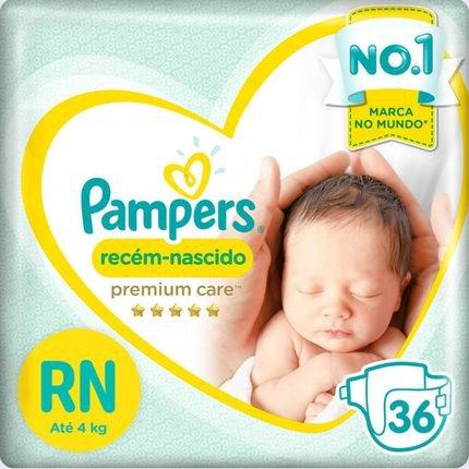 Fralda Pampers Premium Care Recém Nascido com 36 Unidades - Até 4 Kg Branca