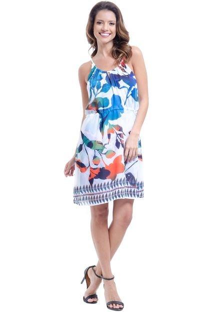101 Resort Wear Vestido 101 Resort Wear Curto Evasê de Alças Crepe Estampado Folhas Coloridas cR1DF