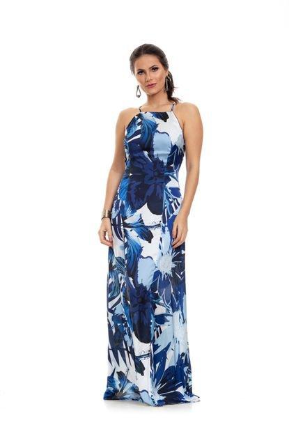 Clara Arruda Vestido Clara Arruda Longo Decote Reto 50503 Multicolorido Parvq