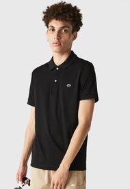 Polera Lacoste Woven Shirts MC Negro - Calce Regular