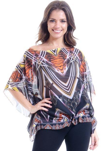 101 Resort Wear Blusa 101 Resort Wear Ombro a Ombro Poncho Estampada Tigre 2mqQu