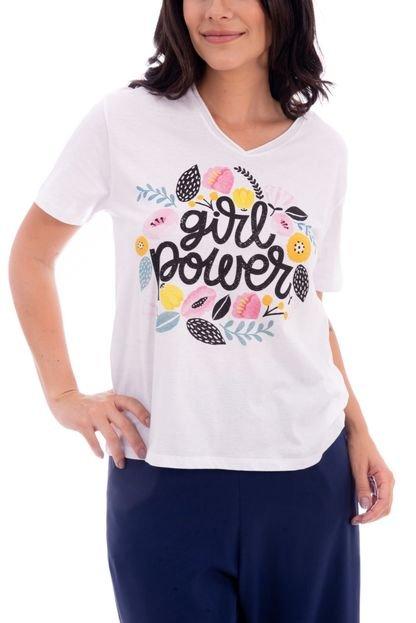 Atelie Fashion Camiseta Atelie Fashion Tal Mãe Tal Filha Girl Power Branca VbVHs
