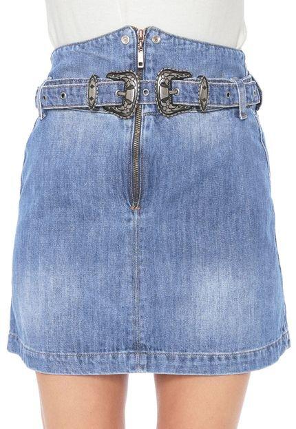 Lez a Lez Saia Jeans Lez a Lez Curta Lapelas Azul