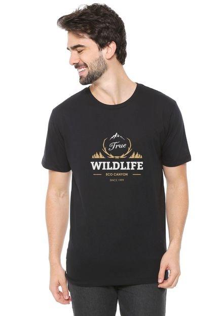 Camiseta de Algodão Eco Canyon Wildlife Preto