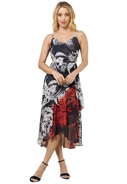 MX Fashion Vestido MX Fashion Midi de Chiffon Estampado Eliane Preto/Vermelho CzCHn