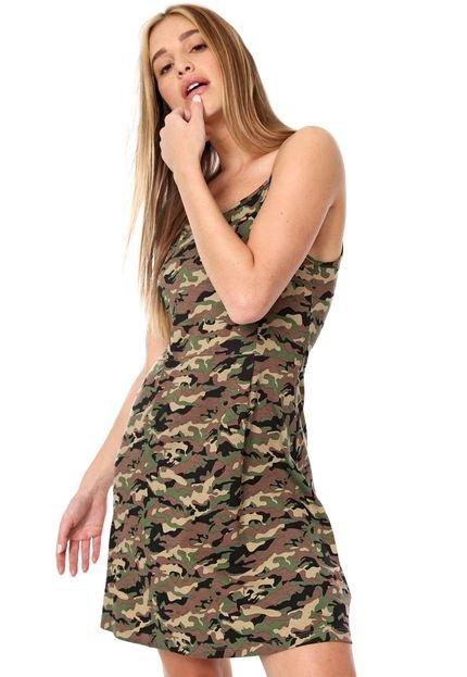 FiveBlu Vestido FiveBlu Curto Estampado Marrom/Verde U5Fxj