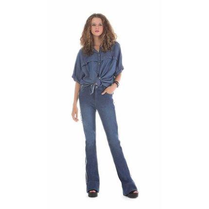 Zinco Camisa Zinco  Manga Curta Detalhe Costas  Jeans P1caL